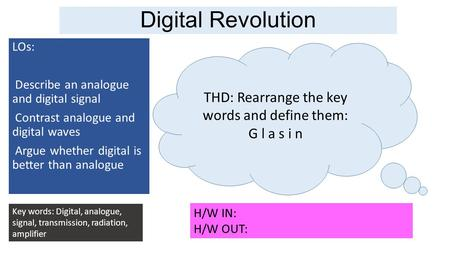 Digital Revolution LOs: Describe an analogue and digital signal Contrast analogue and digital waves Argue whether digital is better than analogue Key words: