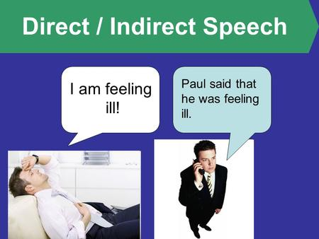 Direct / Indirect Speech I am feeling ill! Paul said that he was feeling ill.