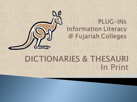 "DICTIONARIES & THESAURI In Print. Dictionaries are very important books for students. The meaning of a word is called the ""definition."" They help students."
