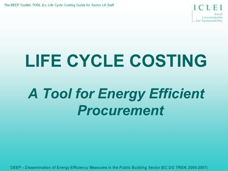 DEEP – Dissemination of Energy Efficiency Measures in the Public Building Sector (EC DG TREN, 2005-2007) LIFE CYCLE COSTING A Tool for Energy Efficient.