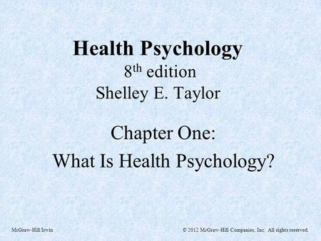 Health Psychology 8th edition Shelley E. Taylor