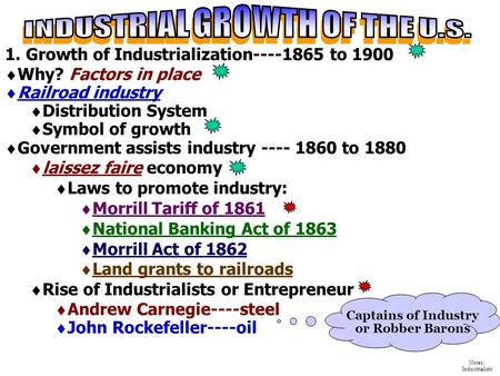 INDUSTRIAL GROWTH OF THE U.S. Captains of Industry or Robber Barons