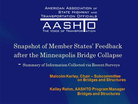 Snapshot of Member States' Feedback after the Minneapolis Bridge Collapse - Summary of Information Collected via Recent Surveys Malcolm Kerley, Chair –