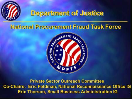 1 Department of Justice Private Sector Outreach Committee Co-Chairs: Eric Feldman, National Reconnaissance Office IG Eric Thorson, Small Business Administration.