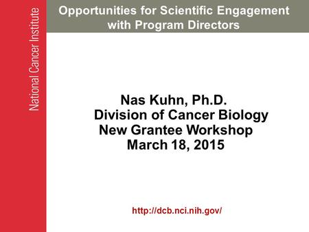 Opportunities for Scientific Engagement with Program Directors Nas Kuhn, Ph.D. Division of Cancer Biology New Grantee Workshop March 18, 2015