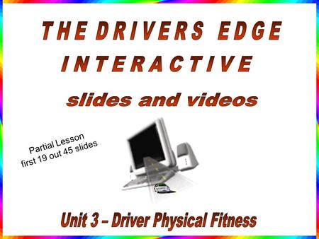 Partial Lesson first 19 out 45 slides. Human Physical and Psychological Issues of Driving.