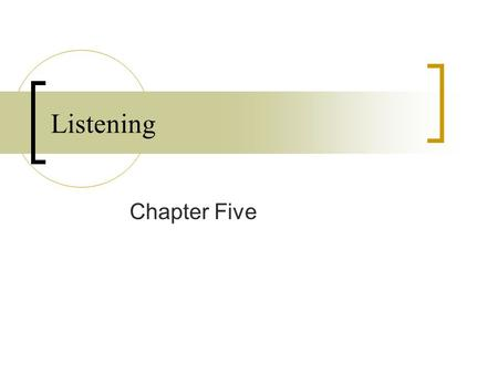 Listening Chapter Five. After completing this chapter, you will be able to define listening and effective listening explain the steps in the listening.