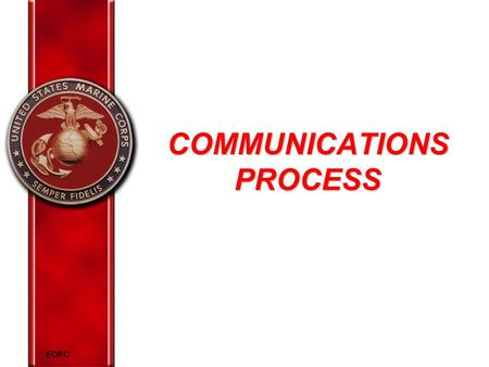 EORC COMMUNICATIONS PROCESS. EORC Overview Definition of communication Elements of the communication process Cross-cultural communication Describe effective.