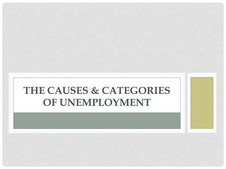 THE CAUSES & CATEGORIES OF UNEMPLOYMENT. OBJECTIVES: What are the three different types of unemployment? What factors determine the natural rate of unemployment?