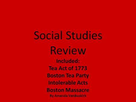 a study of the boston tea party