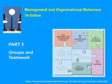 Mullins: Management and Organisational Behaviour, 7th edition © Pearson Education Limited 2005 Management and Organisational Behaviour 7th Edition PART.