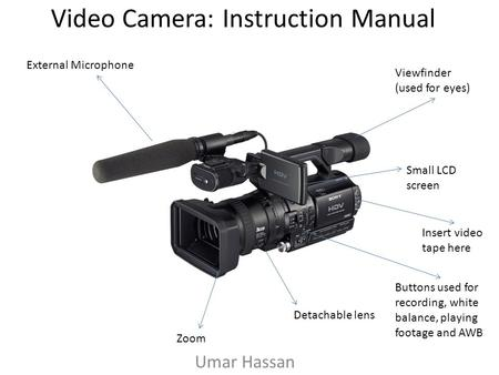 Video Camera: Instruction Manual Umar Hassan External Microphone Small LCD screen Detachable lens Zoom Insert video tape here Viewfinder (used for eyes)