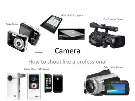 "Camera How to shoot like a professional Pocket Camera `Cellular Phone / FLIP Camera Pro- Consumer Camera Palm / Handy Camera 'NEW"" I-PAD 2 / Laptops."