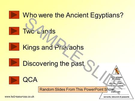 Www.ks1resources.co.uk Who were the Ancient Egyptians? Two Lands Kings and Pharaohs Discovering the past QCA SAMPLE SLIDE Random Slides From This PowerPoint.