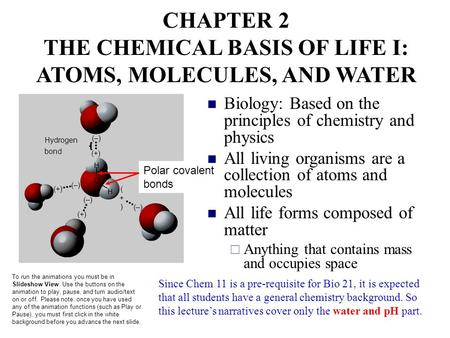 CHAPTER 2 THE CHEMICAL BASIS OF LIFE I: ATOMS, MOLECULES, AND WATER To run the <strong>animations</strong> you must be in Slideshow View. Use the buttons on the <strong>animation</strong>.