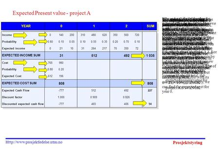 Prosjektstyring  Expected Present value - project A We will choose one of two projects, A or B. Project A, shown on the.