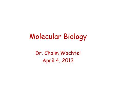 Molecular Biology Dr. Chaim Wachtel April 4, 2013.