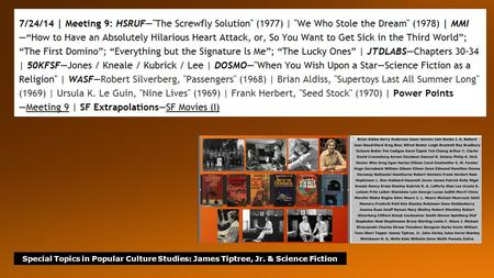 Special Topics in Popular Culture Studies: James Tiptree, Jr. & Science Fiction.