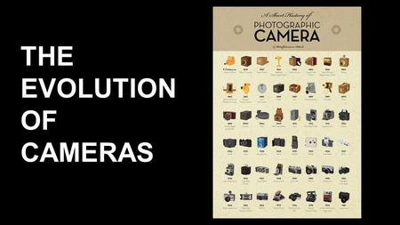 THE EVOLUTION OF CAMERAS. Intro The technology that created the modern camera was created hundreds of years ago. Although they were far away from the.
