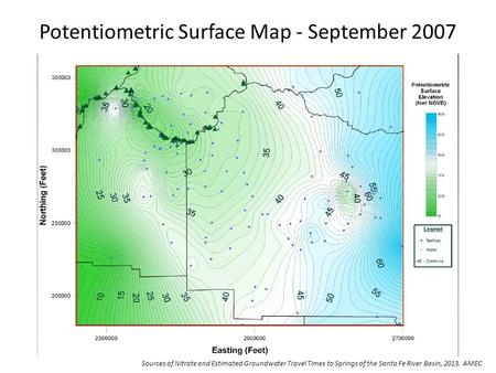 Potentiometric Surface Map - September 2007 Sources of Nitrate and Estimated Groundwater Travel Times to Springs of the Santa Fe River Basin, 2013. AMEC.
