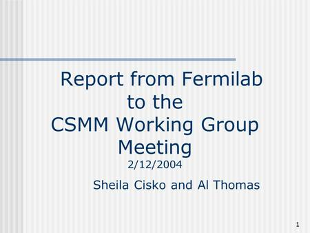 1 Report from Fermilab to the CSMM Working Group Meeting 2/12/2004 Sheila Cisko and Al Thomas.