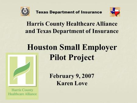 Harris County Healthcare Alliance and Texas Department of Insurance Houston Small Employer Pilot Project February 9, 2007 Karen Love Texas Department of.