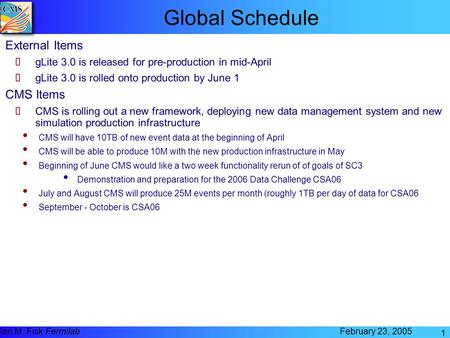 Ian M. Fisk Fermilab February 23, 2005 1 Global Schedule External Items ➨ gLite 3.0 is released for pre-production in mid-April ➨ gLite 3.0 is rolled onto.