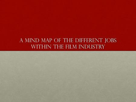 A Mind Map of the Different Jobs Within The Film Industry.