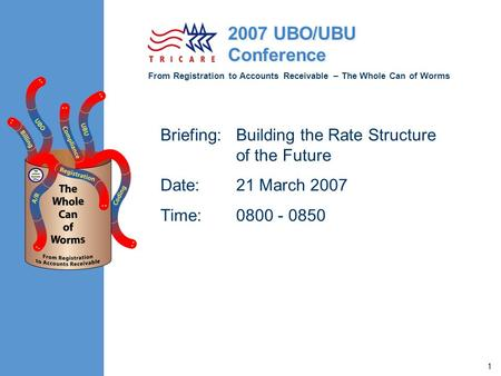 From Registration to Accounts Receivable – The Whole Can of Worms 2007 UBO/UBU Conference 1 Briefing:Building the Rate Structure of the Future Date:21.