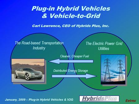 January, 2009 – Plug-in Hybrid Vehicles & V2G Eetrex Plug-in Hybrid Vehicles & Vehicle-to-Grid Carl Lawrence, CEO of Hybrids Plus, Inc. The Electric Power.