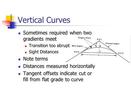 Vertical Curves Sometimes required when two gradients meet Note terms
