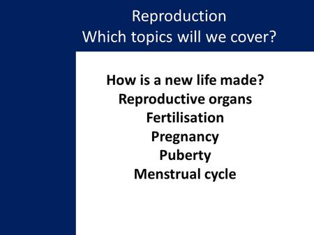 Reproduction Which topics will we cover? How is a new life made? Reproductive organs Fertilisation Pregnancy Puberty Menstrual cycle.