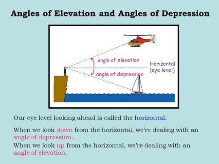 Our eye level looking ahead is called the horizontal. Angles of Elevation and Angles of Depression angle of elevation angle of depression Horizontal (eye.
