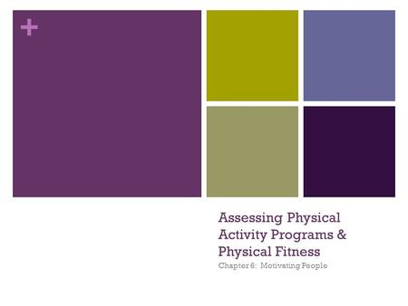 + Assessing Physical Activity Programs & Physical Fitness Chapter 6: Motivating People.
