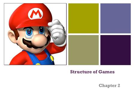 + Structure of Games Chapter 2. + What are different types of games? Do all games share the same exact structure? GamesBoard GamesVideo Games Playground.