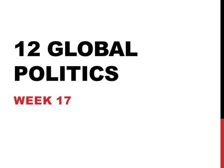12 GLOBAL POLITICS WEEK 17. Learning Intention To understand contemporary debates surrounding human rights LEARNING INTENTIONS Success Criteria WWBAT.