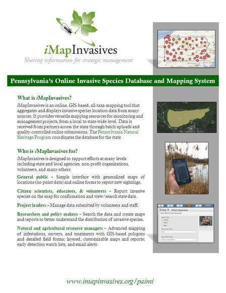 Pennsylvania's Online Invasive Species Database and Mapping System What is i MapInvasives? i MapInvasives is an online, GIS-based, all-taxa mapping tool.