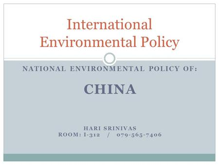 Environmental policy tools and evaluation