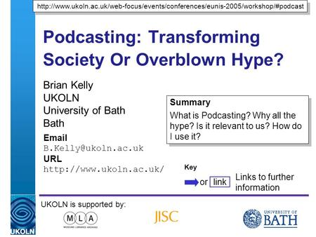 A centre of expertise in digital information managementwww.ukoln.ac.uk Podcasting: Transforming Society Or Overblown Hype? Brian Kelly UKOLN University.