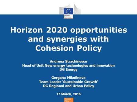 Horizon 2020 opportunities and synergies with Cohesion Policy