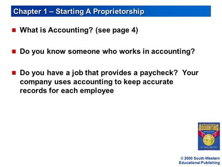 Chapter 1 – Starting A Proprietorship