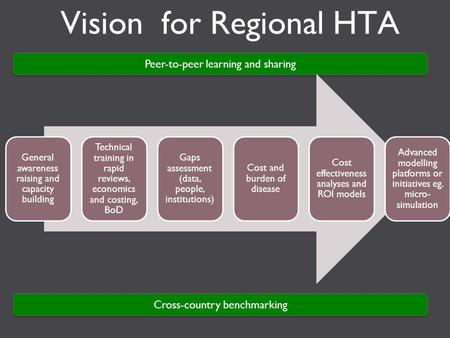 Vision for Regional HTA Peer-to-peer learning and sharing General awareness raising and capacity building Technical training in rapid reviews, economics.