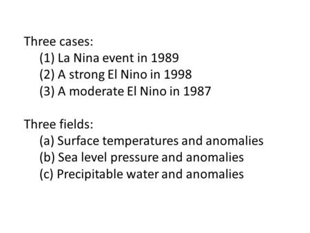 Three cases: (1) La Nina event in 1989 (2) A strong El Nino in 1998 (3) A moderate El Nino in 1987 Three fields: (a) Surface temperatures and anomalies.