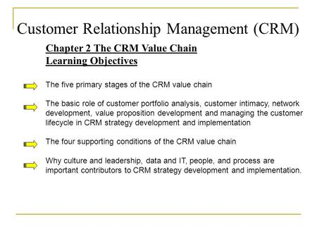 Customer Relationship Management (CRM) Chapter 2 The CRM Value Chain Learning Objectives The five primary stages of the CRM value chain The basic role.