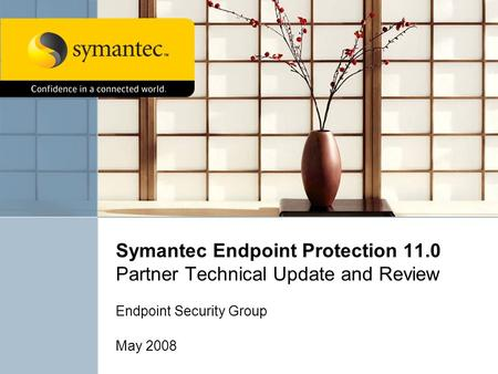 Symantec Endpoint Protection 11.0 Partner Technical Update and Review Endpoint Security Group May 2008.