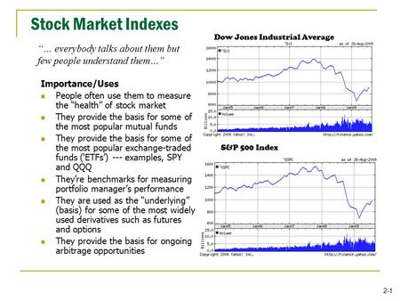 "2-1 Stock Market Indexes Importance/Uses People often use them to measure the ""health"" of stock market They provide the basis for some of the most popular."