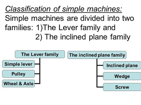 Classification of simple machines: Simple machines are divided into two families: 1)The Lever family and 2) The inclined plane family The Lever family.