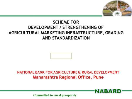 Committed to rural prosperity SCHEME FOR DEVELOPMENT / STRENGTHENING OF AGRICULTURAL MARKETING INFRASTRUCTURE, GRADING AND STANDARDIZATION NATIONAL BANK.