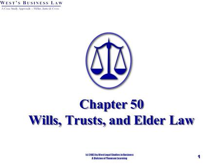 1 Chapter 50 Wills, Trusts, and Elder Law. 2 § 1: Wills Will provides for a Testamentary disposition of property. A will is the final declaration of how.