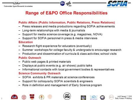 1 Universities Space Research Association AAS January 7, 2008 Early Science Workshop Range of E&PO Office Responsibilities Public Affairs (Public Information,